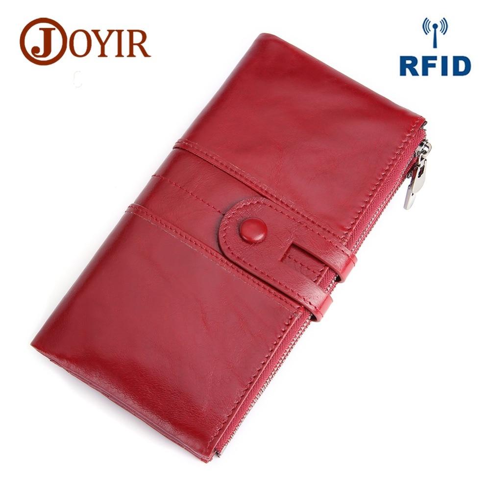 JOYIR Genuine Leather Rfid Women Wallet Lady Long Wallet Female Coin Purse Women 39 S Purse Cellphone Pocket Money Clutch Handy in Wallets from Luggage amp Bags