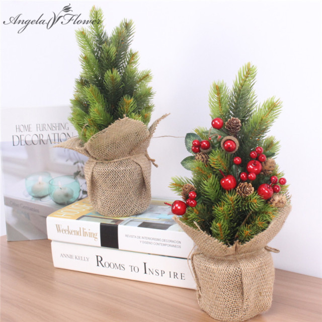 1 set artificial christmas tree green plant with vase and linen simulation plant christmas decoration for - Decorated Artificial Christmas Trees
