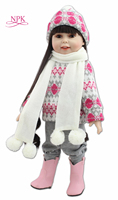 NPK 18inches fashion popular American girl doll winter suit fashion play doll education toy for kids'christmas gifts