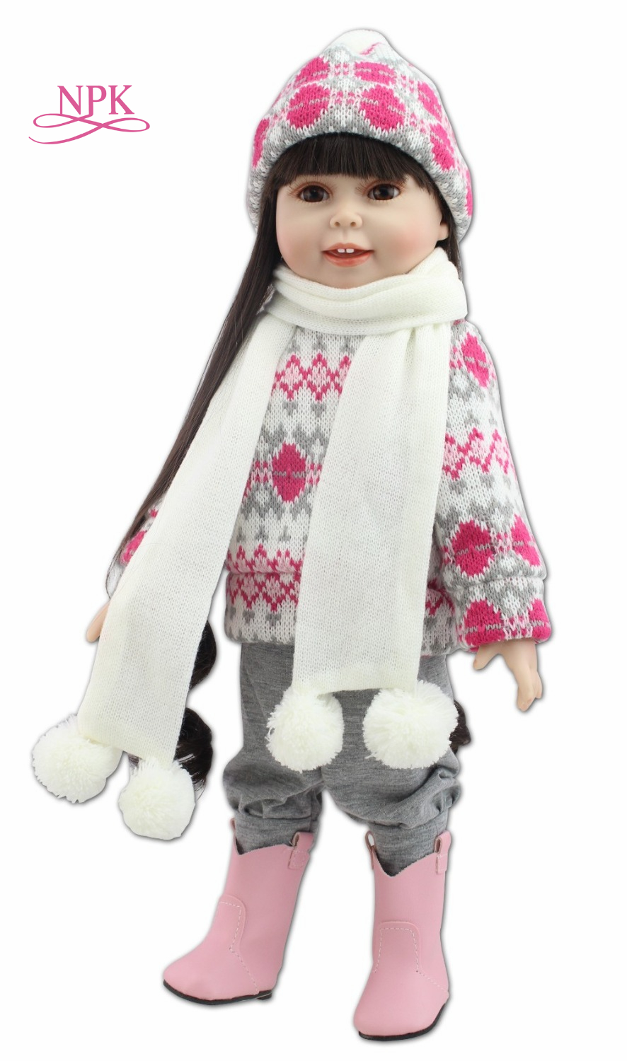 NPK 18inches fashion popular American girl doll winter suit fashion play doll education toy for kids'christmas gifts кукла fashion royalty crazy girl misaki nippon fashion doll 2008
