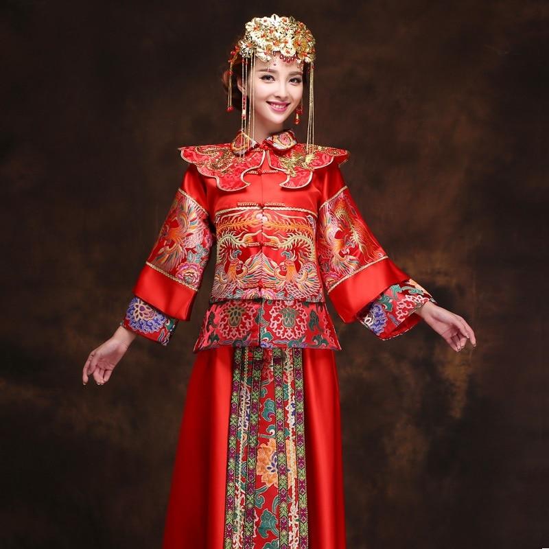 Chinois femmes traditionnel phoenix dragon satin kimono de mariage 2017  chine de mariée classique rouge kimono