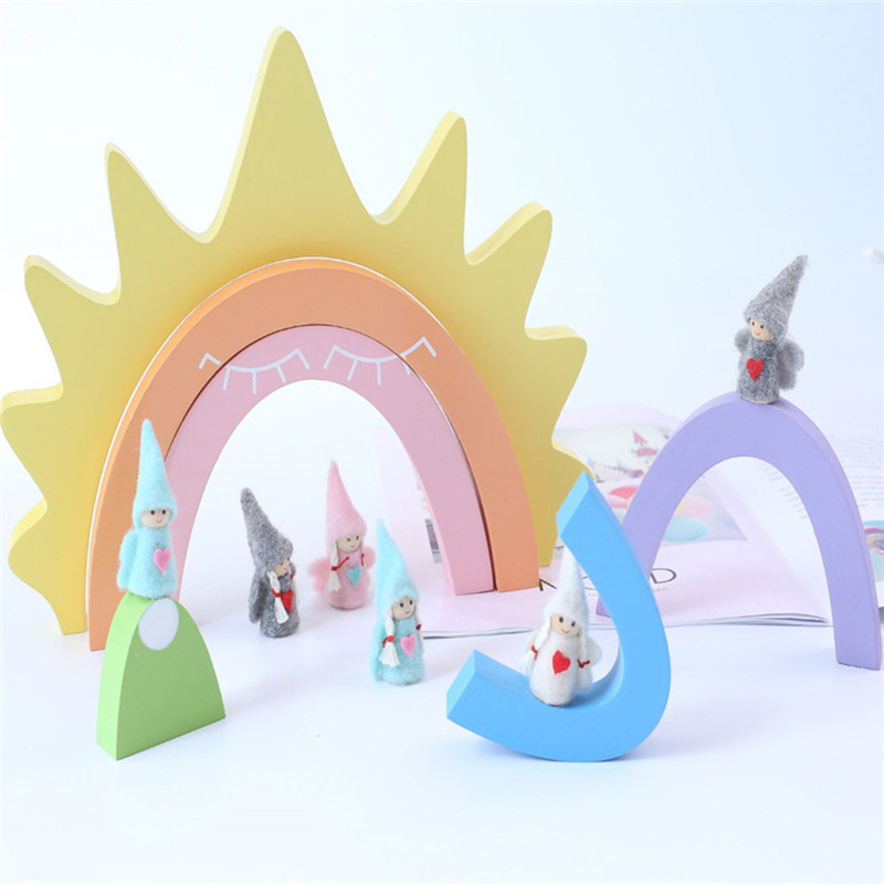 6 pièces/ensemble de Sun Rainbow blocs de construction jouets créatifs arc-en-ciel assemblé blocs de construction infantile enfants éducatifs bébé