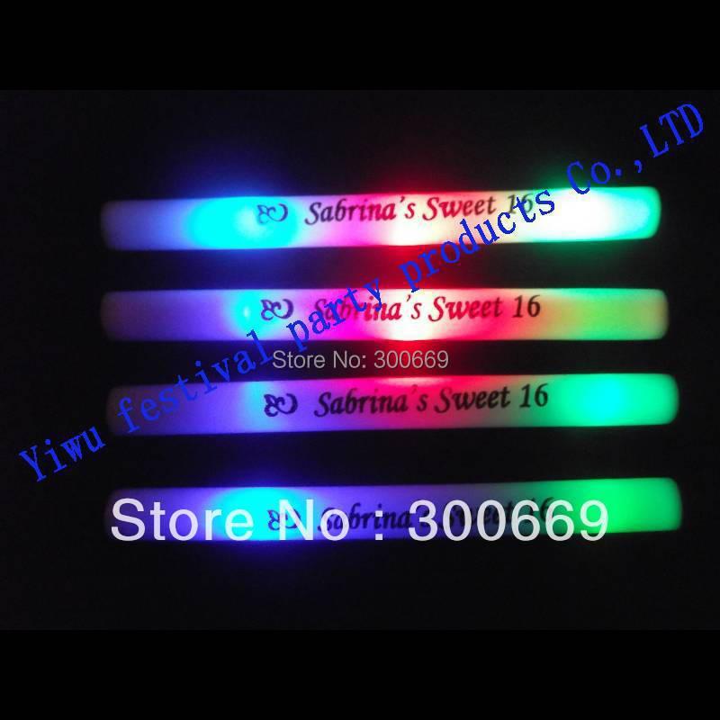 Festival Of Speed >> 100pcs/ 1 lot Free Shipping Colourful Led Foam Stick customized logo available Flashing Glow ...