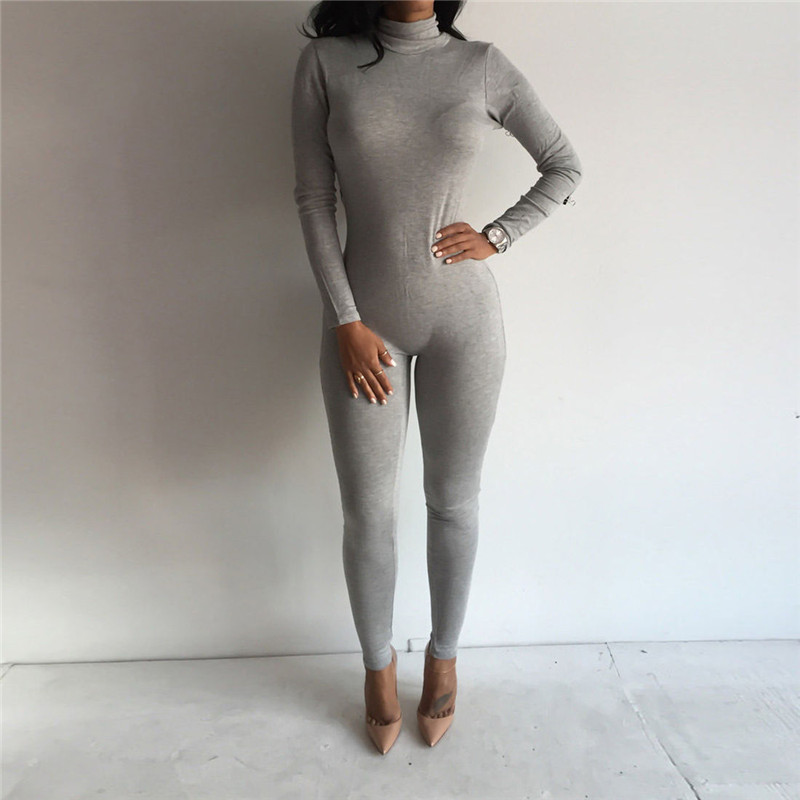 Women High Neck Winter Jumpsuit Solid Color Casual Long Sleeve Bodycon Jumpsuit Clothes For Ladies