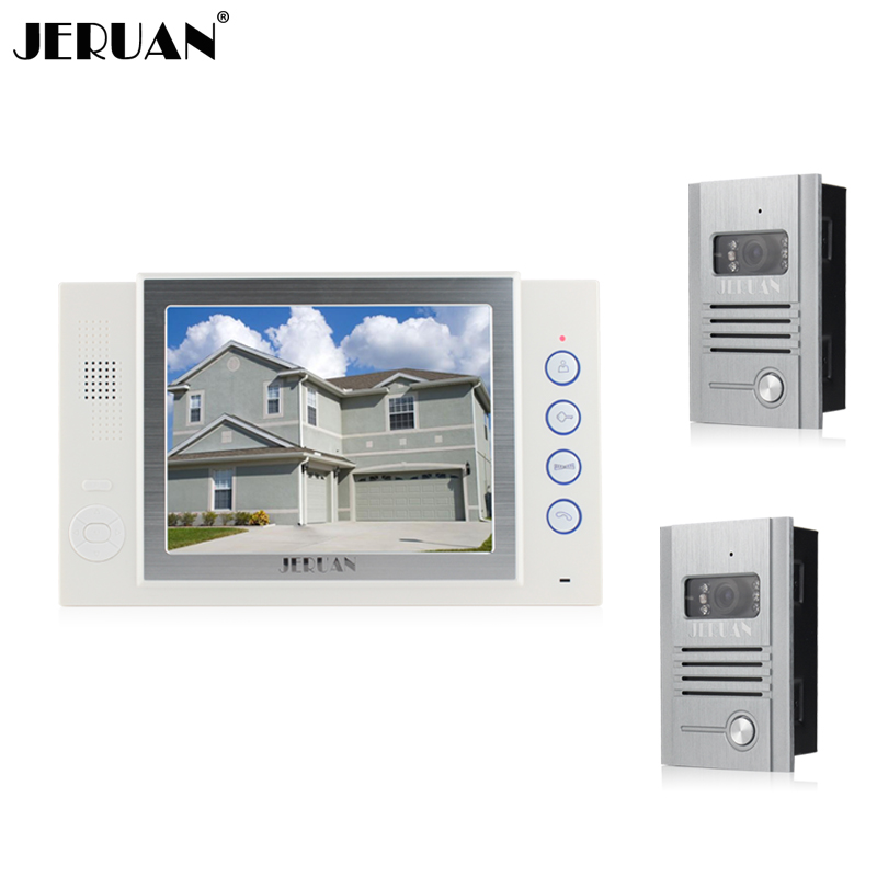 JERUAN 8 inch video door phone doorbell intercom system Home security system 2 outdoor 1 indoor with recording photo taking jeruan home security system 2 outdoor 1 indoor with recording photo taking 8 inch video door phone doorbell intercom system