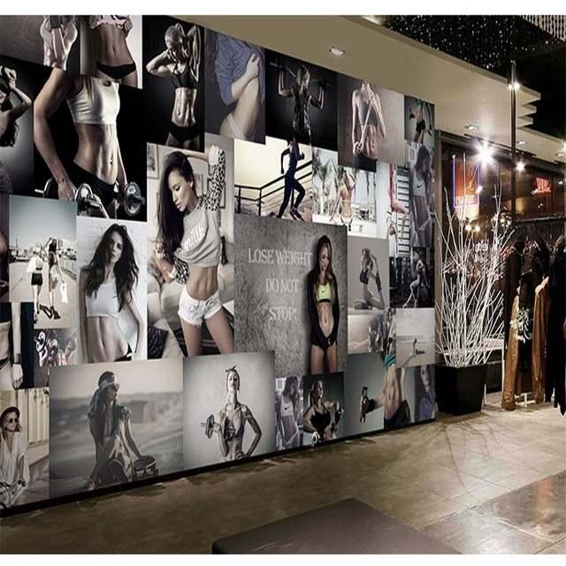 37893ef7f Loja de Roupas grande mural papel de parede 3d boxing gym yoga salão khan  vapor salão