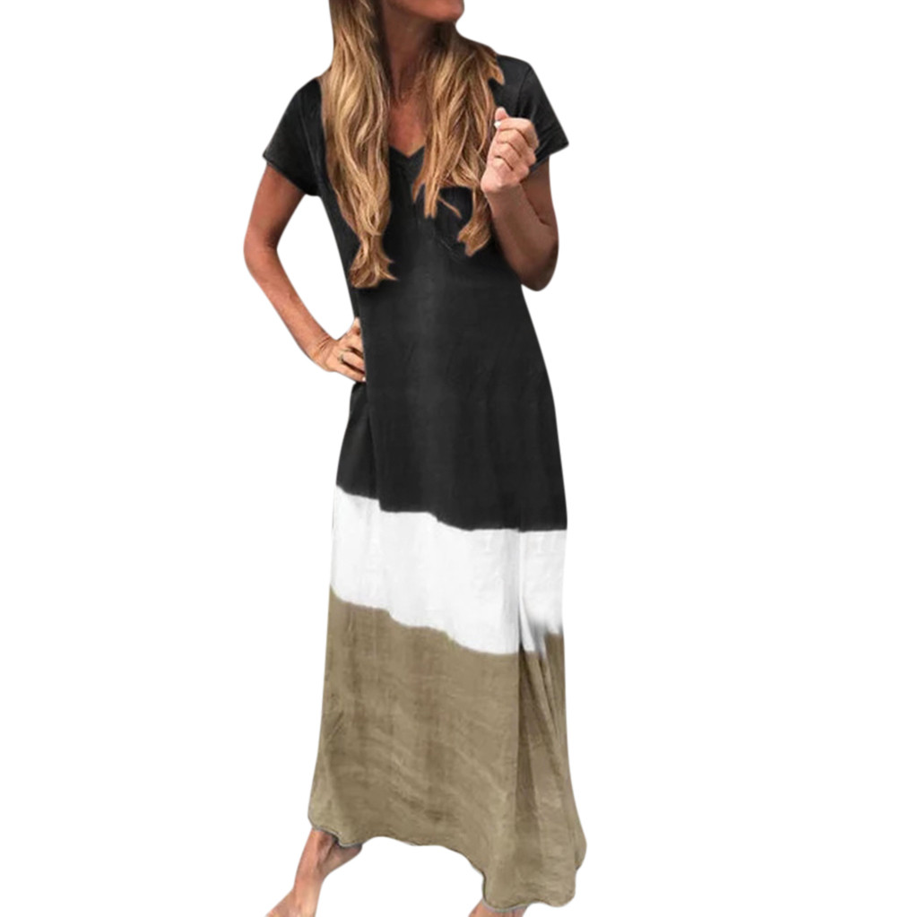 Dresses for Women Tie-Dyed Color Block Maxi Dress Letter Print Casual Cocktail Party Long Sundress
