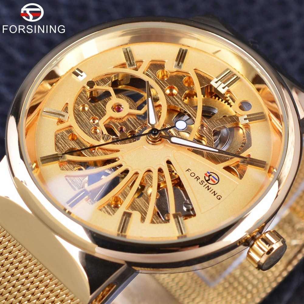 Forsining Golden Fashion Series Simple Skeleton Design Stainless Steel Open Work Mens Watches Top Brand Luxury Mechanical Watch forsining 3d skeleton twisting design golden movement inside transparent case mens watches top brand luxury automatic watches