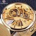 Forsining oro serie de moda diseño simple esqueleto de acero inoxidable de trabajo abierto para hombre relojes de primeras marcas de lujo reloj mecánico
