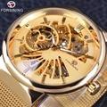 Forsining ouro série de moda simples projeto de esqueleto de aço inoxidável de trabalho aberto mens relógios top marca de luxo relógio mecânico