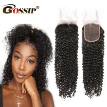 Gossip Afro Kinky Curly Hair Lace Closure 4*4 Free Part Brazilian Curly Weave Human Hair Closures Swiss Lace Closure Non Remy