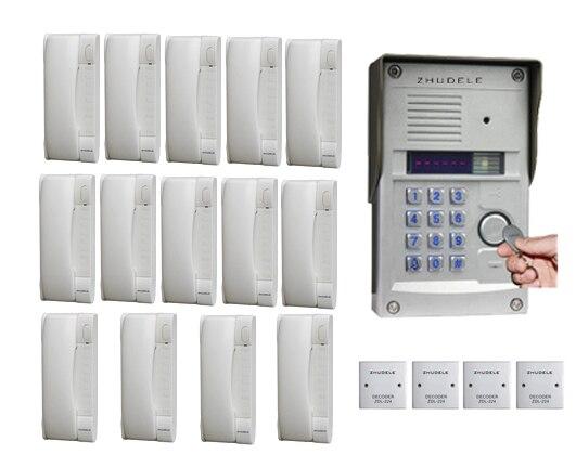 PräZise Zhudele 14-way Sprech Home Security Audio-türsprechanlage Passwort Und Id-karte Entriegelungsfunktion Für 14 Wohnungen Online Rabatt Audio Intercom