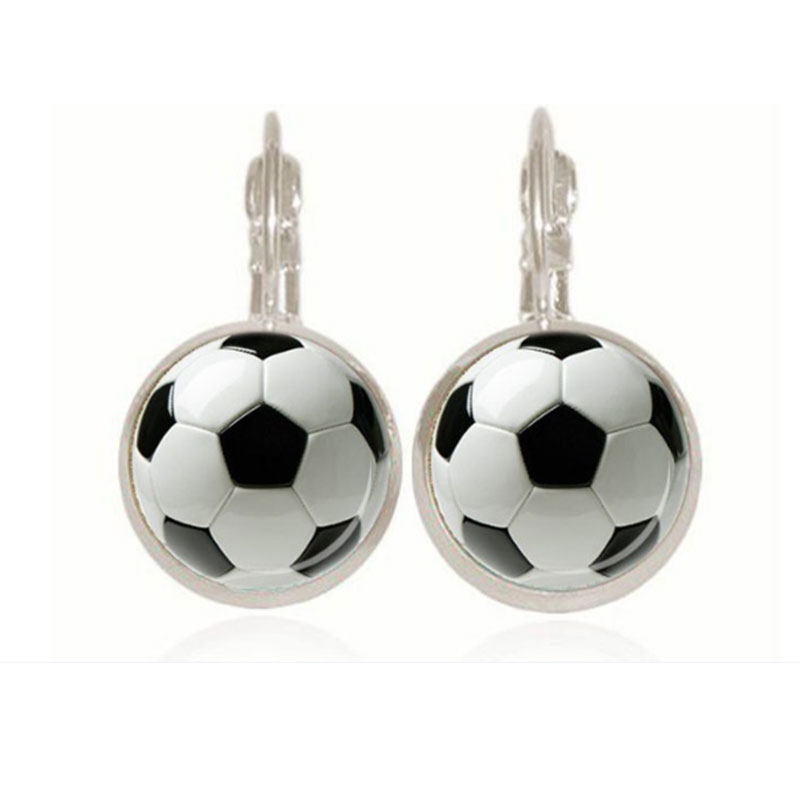 Soccer Ball Earrings Personalized Glass Soccer Football Dangle Earrings Sports Hobby Jewelry Soccer Fan Mom Gift