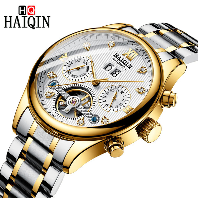HAIQIN Mens Fashion Casual Mechanical Watches Waterproof 30M Stainless Steel Band Luxury Automatic Business Watch Clock Saat   HAIQIN Mens Fashion Casual Mechanical Watches Waterproof 30M Stainless Steel Band Luxury Automatic Business Watch Clock Saat