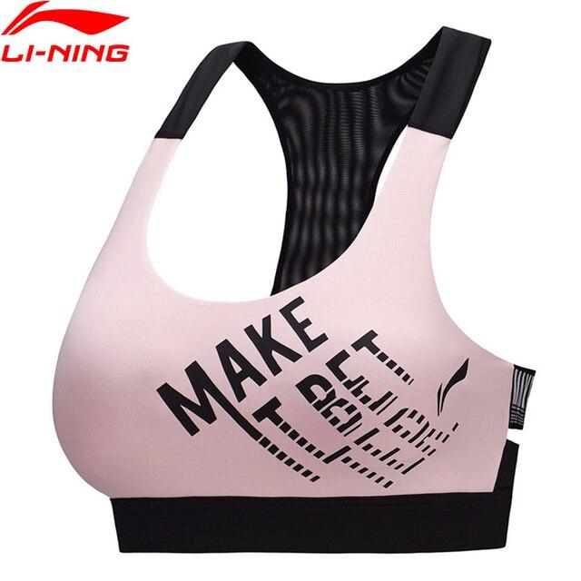 Li-Ning Women Training Series Sports Bras Base Layer Tight Fit Medium Support LiNing Fitness Sport Bra Tops AUBP054 WBJ196