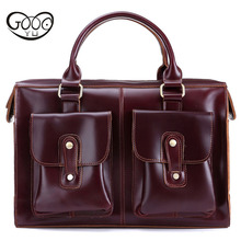 Outside bag design genuine leather bag New leather handbags business casual briefcase retro first layer of leather luggage tag недорого