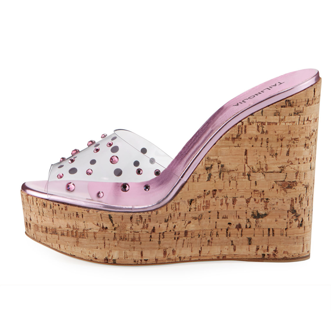 Peep Toe Cork Wedge Slide Sandals for Women Transparent PVC Platform Mules with Crystal Sky High Dress Heels Ladies Summer Shoes in High Heels from Shoes