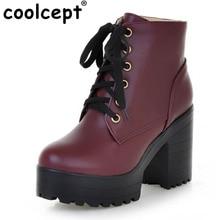Coolcept Británico de Moda Botines Con Cordones de Alta Plataforma de Tacones Altos Cuadrados de Invierno Cálido Zapatos Botas Tamaño de Vacaciones de Trabajo 32-43