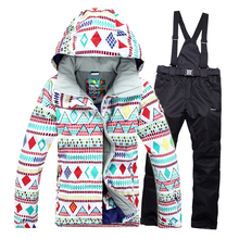 High quality Winter Skiing wear Hoodie jacket and pants Free shipping Women's Ski Suit Waterproof Sportwear Female Women