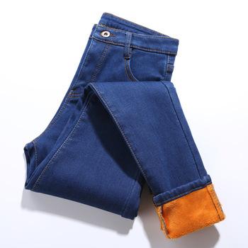 Ciepłe zimowe dżinsy dla kobiet elastyczne dżinsy kobiet Super miękkie zagęszczony dżinsy wysokiej talii Plus aksamitne ciepłe dżinsy elastyczność tanie i dobre opinie 6 Extra Large Pełnej długości COTTON Poliester Na co dzień 48548 Zmiękczania Ołówek spodnie skinny Średni Wysoka
