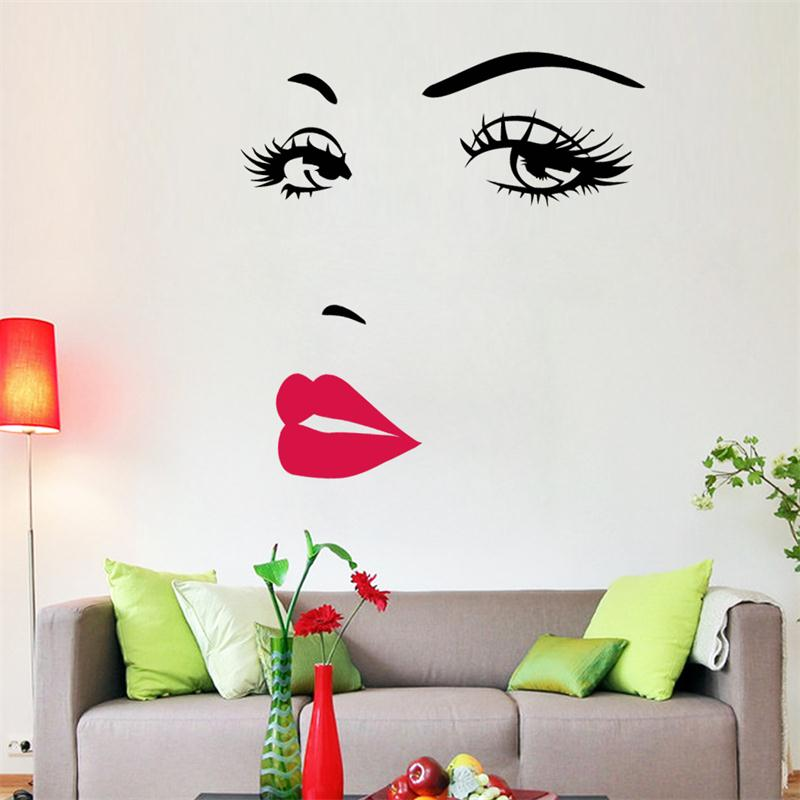 Hot Pink charm lips EYE Marilyn Monroe Vinyl Wall Stickers Art Mural Home Decor Decal Adesivo De Parede Wallpaper Decoration
