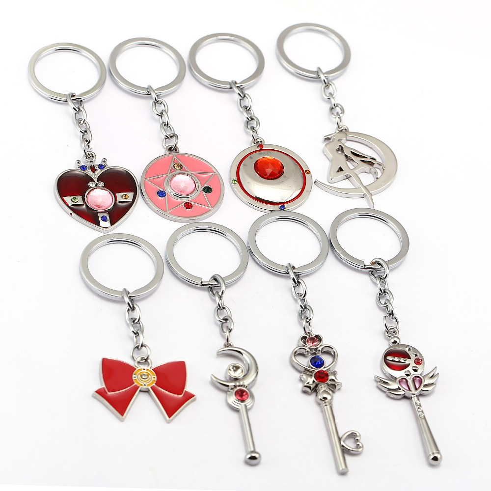 Cute Sailor Moon Figure Sailormoon Heart Moon Bow Keychain Pendant Cosplay Key Chain Cartoon Keyring Girl Gift Key Ring Cool In Summer And Warm In Winter Jewelry Sets & More