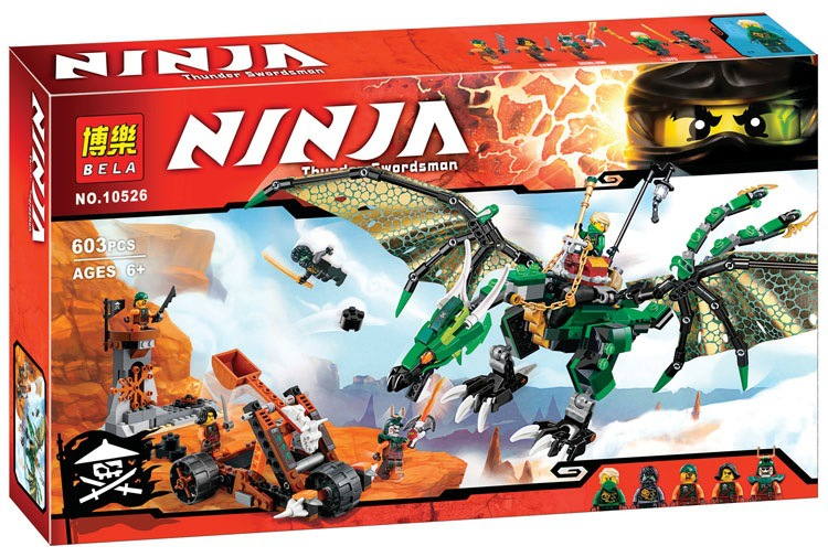 ФОТО 2016 New 10526 618Pcs Ninja The Green NRG Dragon Model Building Kits  Blocks Bricks Toys Compatible