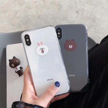 Słodkie Niedźwiedź Brunatny Cony Króliki Kreskówki Wzór Wyczyść Miękka TPU Przypadki Telefonów Powrotem Pokrowce Na iPhone X 6 6 s plus 8 7 Plus Capa Fundas