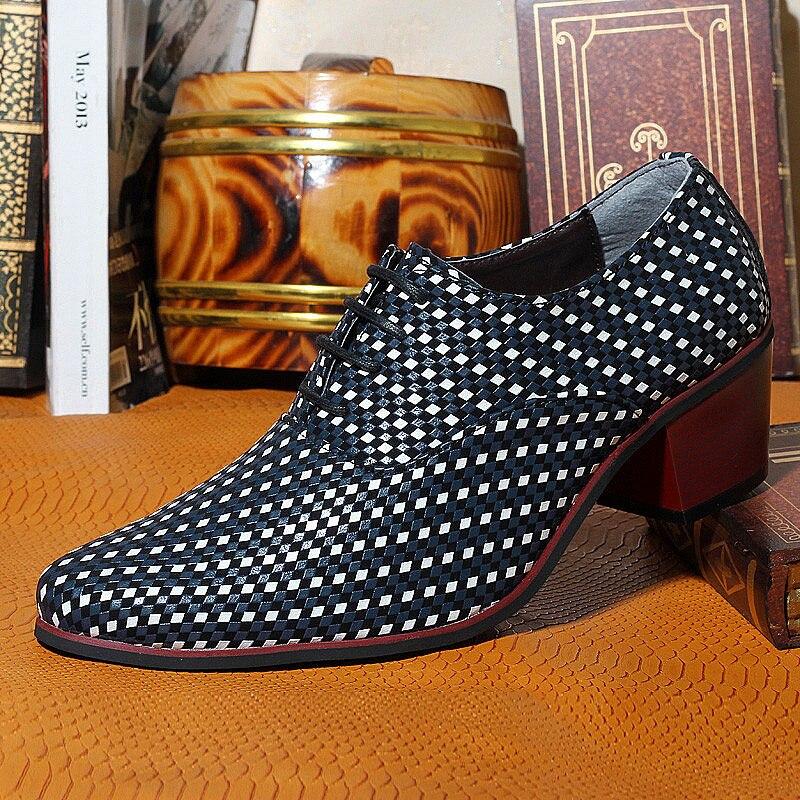 à En Messieurs Chaussures Mosaïque Robe Mens À Armure rouge 6 Cm Hauts 3 2 Mode Knit ''accroître Loisirs Homme Grande Partie Bleu Tresse Cuir Talons xvYwFRWWq
