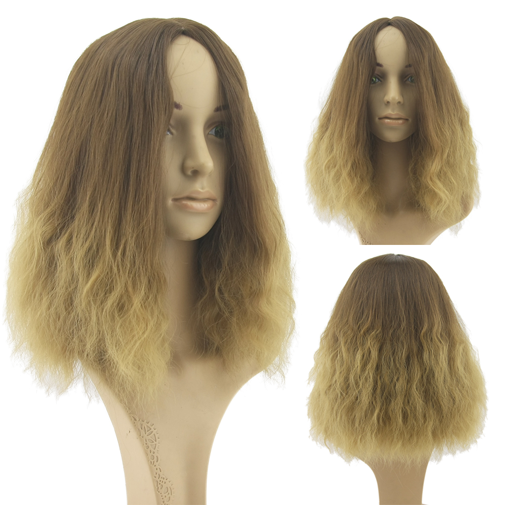 Ombre Wigs Afro Kinky Curly Hair Full Lace Wig Cosplay Synthetic Heat Resistant Women