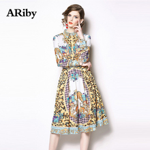 Women Dress Turn-down Collar Dress Spring 2019 New Fashion Lady Vintage Elegant Temperament Printed Long-sleeved A-Line Dresses women chiffon dress elegant 2019 spring new fashion solid color turn down collar long sleeved ruffles slim a line green dress