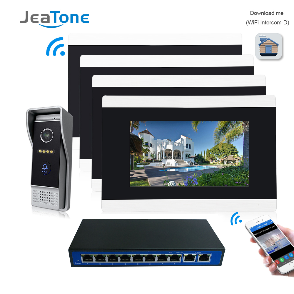 7'' Touch Screen Wireless WIFI IP Video Door Phone Intercom Video Doorbell Villa Access Control System Motion Detection 1 To 4