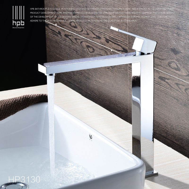 HPB Brass Chrome Tall Bathroom Basin Faucet Mixer Tap Hot and Cold Water taps Single Hole Handle torneira Long Spout HP3130 bathroom basin faucets modern chrome finished bathroom faucet single hole cold and hot water tap basin faucet mixer taps