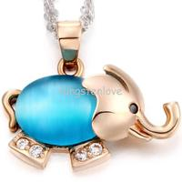 Fashion Blue Opal Cz Crystal Elephant Animal Pendant Necklace Gold Tone For Birthday Valentine Gifts