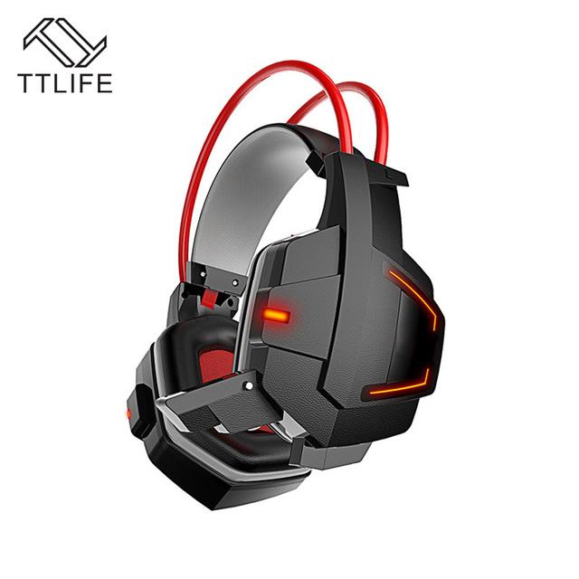 TTLIFE Deep Bass Juego Rodeado Over-Ear Auriculares Estéreo Gaming Headset Diadema Auricular con la Luz para Pc Gamer