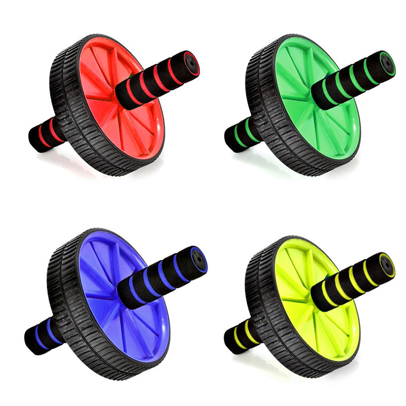 New Keep Fit Wheels No Noise Dual Wheel Abdominal Exerciser Ab Roller With Mat Muscle Waist Training Workout Fitness Equipment