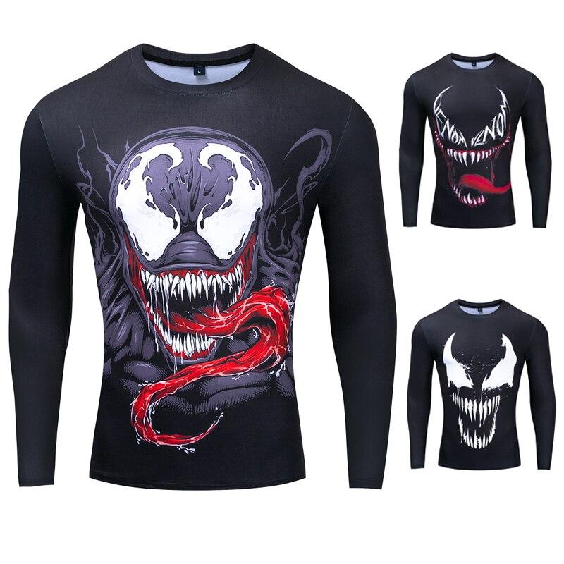 New Marvel Super Heroes Venom Print 3D T Shirt Dry Fit Men Running Shirts Compresion Tee Shirt Homme Sport Clothing Gym Rashgard