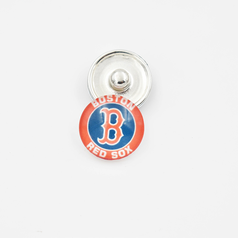 Boston Red Sox Baseball Team Glass Snap Button Charm For 18MM Snap Button Jewelry (Mixed Or Single Sell)