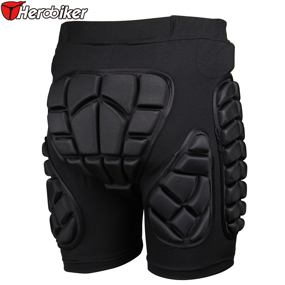 HEROBIKER Black Short Protective Hip Butt Pad Ski Skate Snowboard Skating Skiing Protection Drop Resistance Roller Padded Shorts 5pcs in 1 outdoor sports protection skiing hip pad knee pads wrist support palm for roller skating snowboard protection black