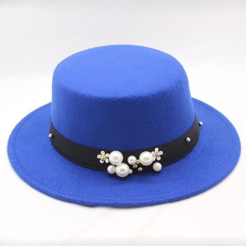 Mujeres Jazz sombreros Casual sólido negro mujeres Vintage Fedora de ala  ancha con perla Bowler otoño ab54c412ba7