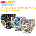 Miababy extra grande calças de treinamento, bambu terry dentro com um costurar dentro de inserção, especialmente para 2 anos acima do bebê