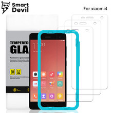 SmartDevil 2 pieces 3D 9H 0.33mm tempered glass for xiaomi 4 mobile phone protector film anti-fingerprint protective front film