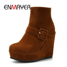ENMAYER Spring And Summer 2018 women wedges ankle boots Ladies Cool Black Fashion Square Heel platform Boots 34-43 ZYL171
