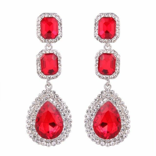 d17392309 Bella Fashion 4 Colors Halo Teardrop Bridal Earrings Square Austrian  Crystal Rhinestone Earrings For Wedding Party