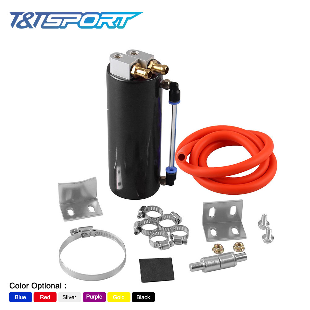 RYANSTAR RACING Universal 450ML Aluminum Racing Oil Catch Tank/Can Round Can Reservoir Turbo Oil Catch Can