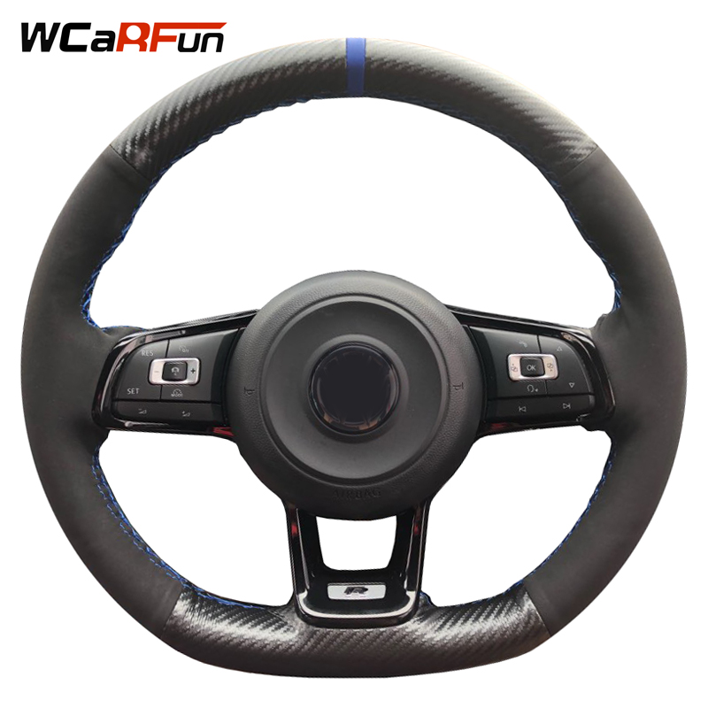 Carbon Fiber Leather Black Suede blue Marker Car Steering Wheel Cover for Volkswagen Golf 7 GTI Golf R MK7 VW Polo GTI Scirocco universal carbon fiber car keyhole decoration ring for volkswagen series silver black blue