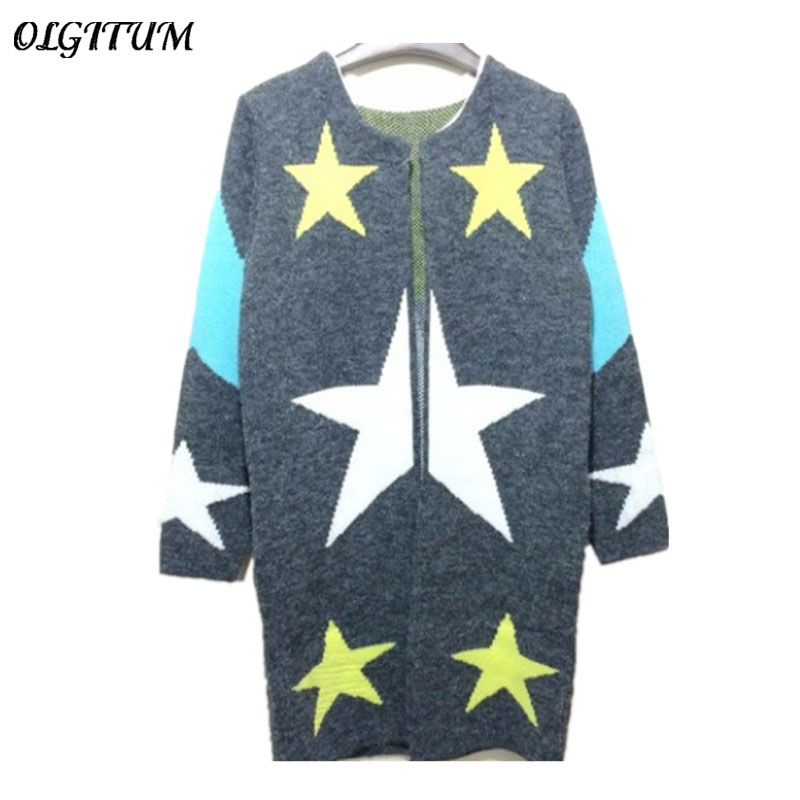 2018 Autumn Cardigans Stars Pattern Print Fashion Women Long Sweaters Loose Warm Knitted ...