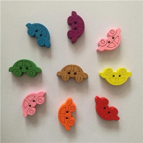 50 шт смешанные животные 2 отверстия деревянные пуговицы для скрапбукинга поделки DIY Детские аксессуары для шитья одежды пуговицы украшения - Цвет: mini car