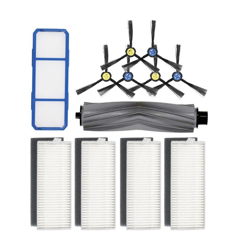 Основная щетка + пар (черный + белый) HEPA фильтр + основной фильтр + боковая щетка для ILIFE A7 робот пылесос аксессуары|Запчасти для пылесоса|   | АлиЭкспресс