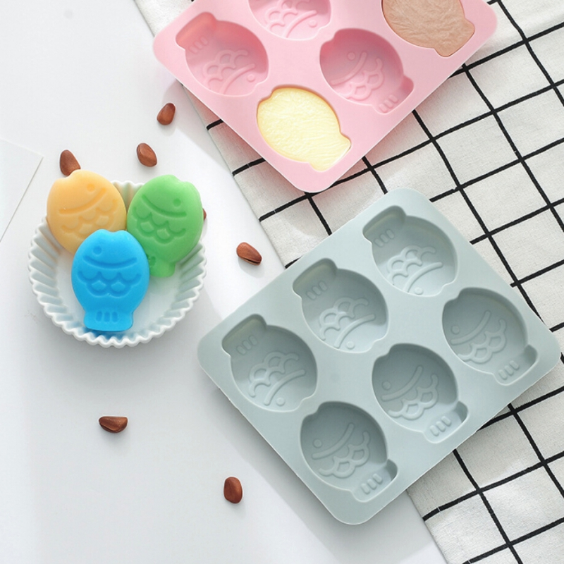 2019 6 Grid Silicone Fish Cake Mold Ice Grid Pudding Diy Baking Tool Cake Baking Mold Dessert Mold Kitchen Accessories in Ice Cream Tubs from Home Garden